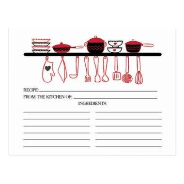 Fun Red Kitchen Gadgets Bridal Recipe Invitations