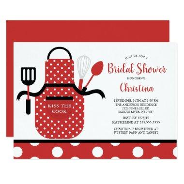 Fun Retro Red Kitchen Bridal Shower Invitations