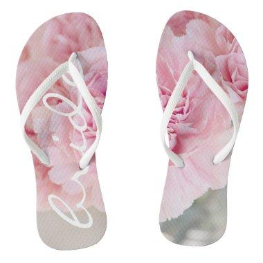 Funky flip flops bride floral pink