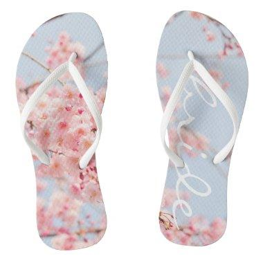 Funky flip flops bride floral pink and blue