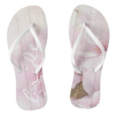 Funky flip flops bride wood with flowers 1