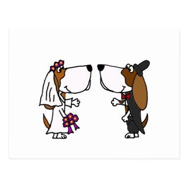 Funny Basset Hound Bride and Groom Wedding Art PostInvitations