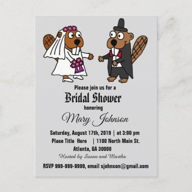 Funny Beaver Wedding Cartoon Invitation PostInvitations