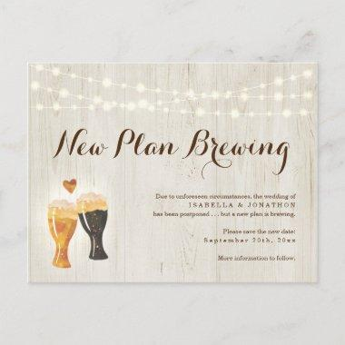 Funny Beer Wedding Postponed Announcement PostInvitations