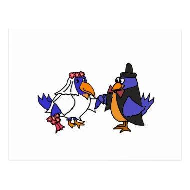 Funny Bluebirds Bride and Groom Wedding PostInvitations