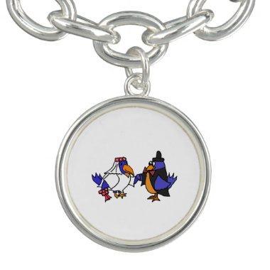 Funny Bluebirds Wedding Bride and Groom Art Charm Bracelets