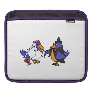 Funny Bluebirds Wedding Bride and Groom Art iPad Sleeve
