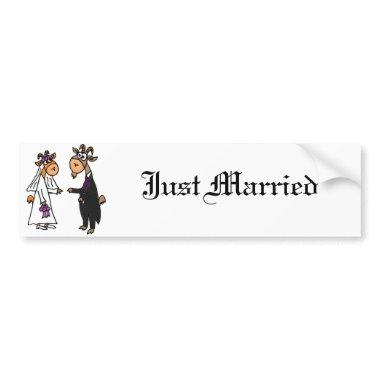 Funny Bride and Groom Goat Wedding Bumper Sticker