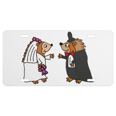 Funny Bride and Groom Hedgehog Wedding Art License Plate