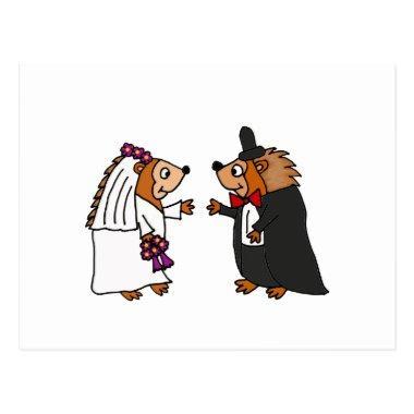 Funny Bride and Groom Hedgehog Wedding Art Post