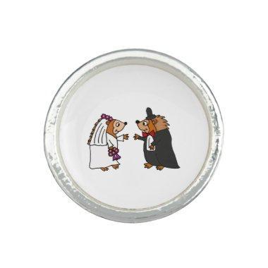 Funny Bride and Groom Hedgehog Wedding Art Ring