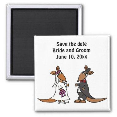 Funny Bride and Groom Kangaroo Wedding Design Magnet