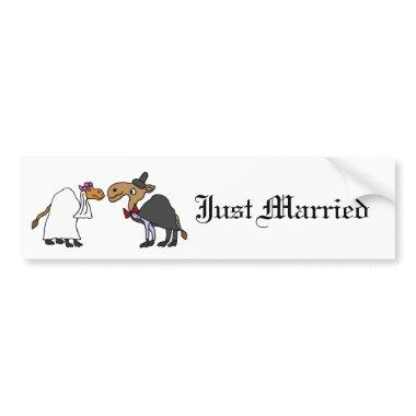 Funny Camel Bride and Groom Wedding Cartoon Bumper Sticker