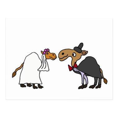 Funny Camel Bride and Groom Wedding Cartoon PostInvitations