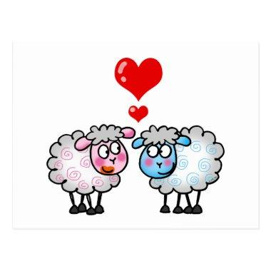 Funny cartoon sheep, Wedding couple PostInvitations