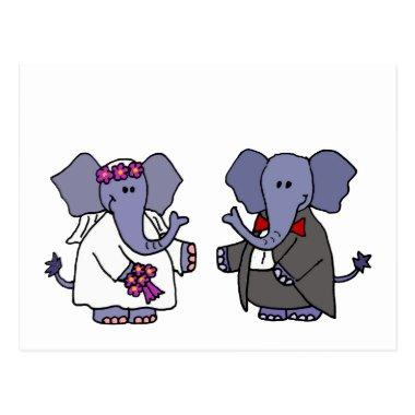 Funny Elephant Bride and Groom Wedding Design PostInvitations