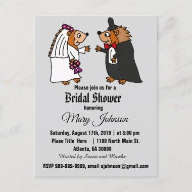 Funny Hedgehog Wedding Cartoon Invitation PostInvitations