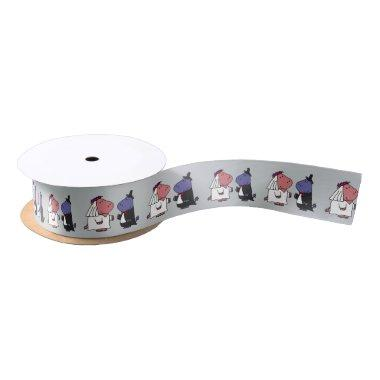 Funny Hippo Bride and Groom Wedding Ribbon