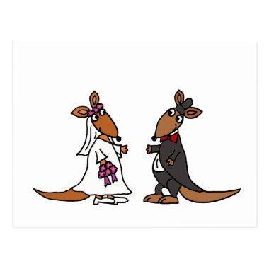 Funny Kangaroo Bride and Groom Wedding Design PostInvitations