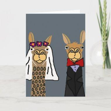 Funny Llama Bride and Groom Wedding Art Invitations