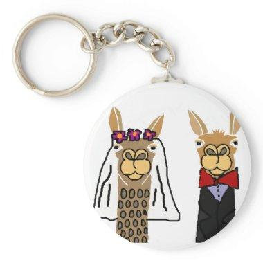 Funny Llama Bride and Groom Wedding Art Keychain