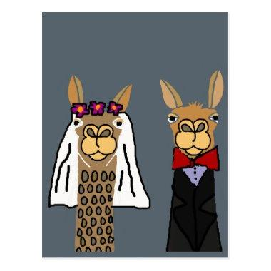 Funny Llama Bride and Groom Wedding Art PostInvitations