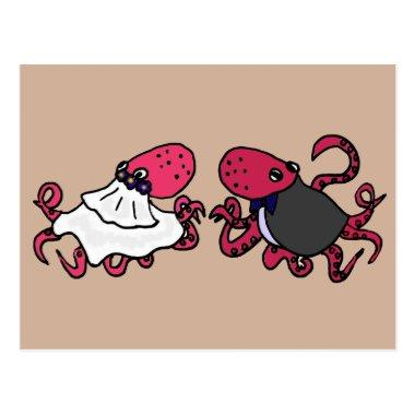 Funny Octopus Bride and Groom Wedding Art Post