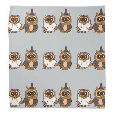 Funny Owl Bride and Groom Wedding Bandana