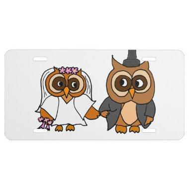 Funny Owl Bride and Groom Wedding License Plate