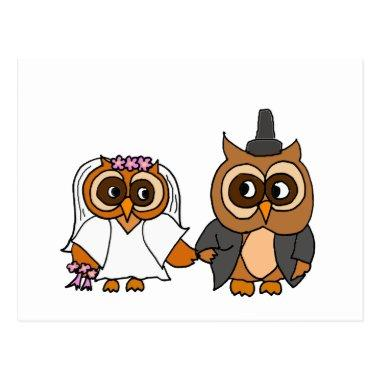 Funny Owl Bride and Groom Wedding Post