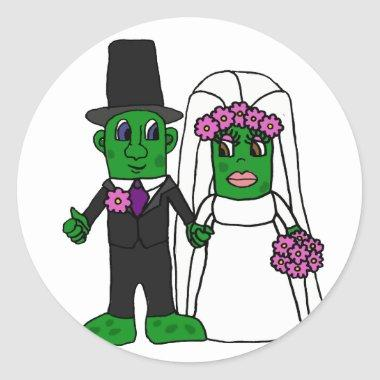 Funny Pickle Bride and Groom Wedding Art Classic Round Sticker