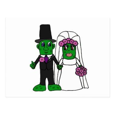 Funny Pickle Bride and Groom Wedding Art PostInvitations