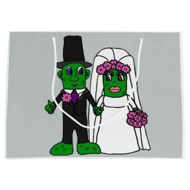 Funny Pickle Bride and Groom Wedding Cartoon Large Gift Bag