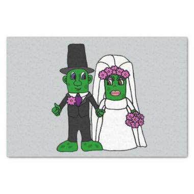 Funny Pickle Bride and Groom Wedding Cartoon Tissue Paper