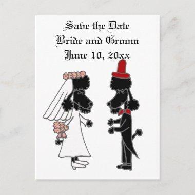Funny Poodle Bride and Groom Wedding Announcement Post