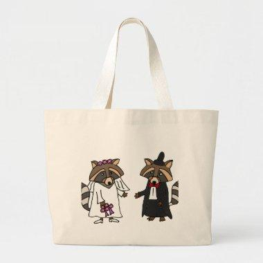 Funny Raccoon Bride and Groom Wedding Art Large Tote Bag