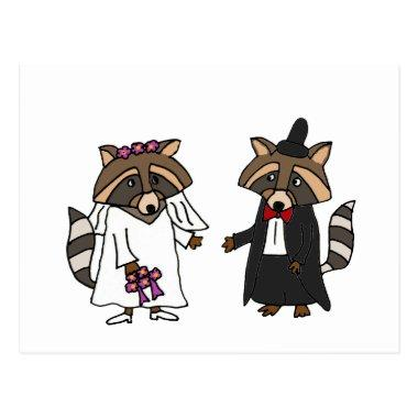 Funny Raccoon Bride and Groom Wedding Art PostInvitations