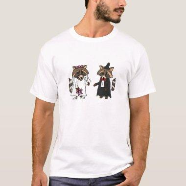 Funny Raccoon Bride and Groom Wedding Art T-Shirt