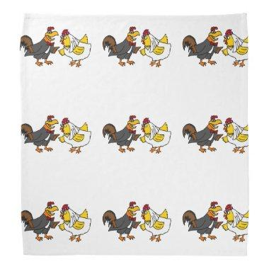 Funny Rooster Groom and Hen Bride Wedding Bandana
