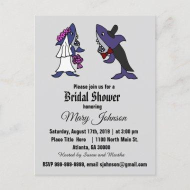 Funny Shark Bride and Groom Wedding Invitation PostInvitations