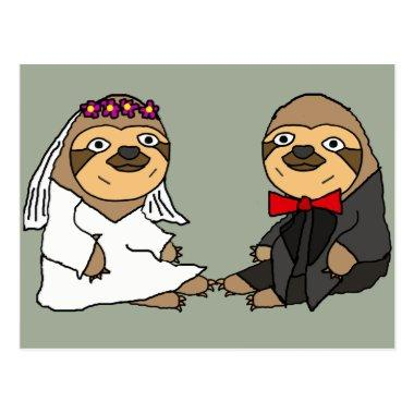 Funny Sloth Bride and Groom Wedding PostInvitations