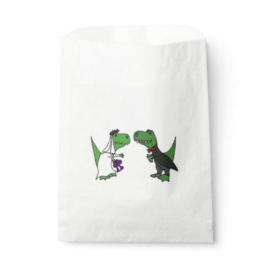 Funny T-Rex Dinosaurs Bride and Groom Favor Bags