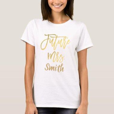 gold modern script engagement t shirt