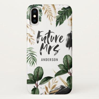 Future Mrs tropical leaf and typography iPhone XS Case