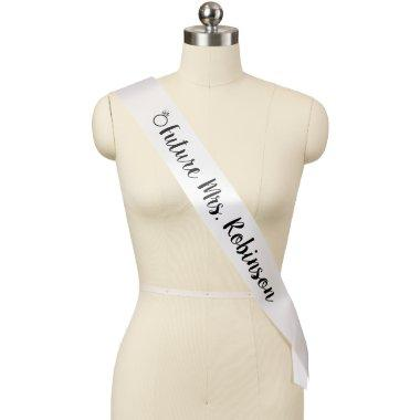 Future Mrs. with Ring Black and White Bride Sash