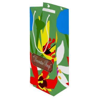 Garden Blooms Wine Green Gift Bags