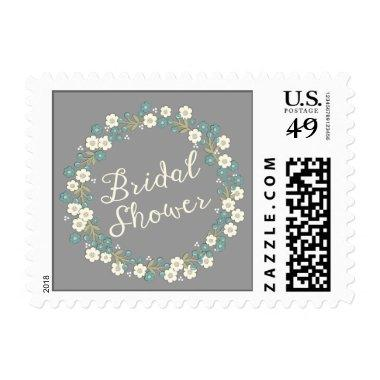 Garden Party Floral Wreath  Blue Postage