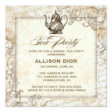 GC Bronze Tan Vintage Tea Party Invitations