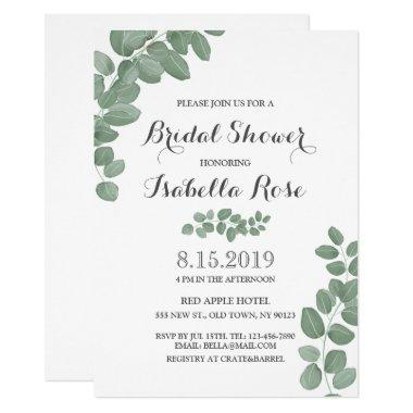 Geen Eucalyptus Leaf Bridal Shower Invitations