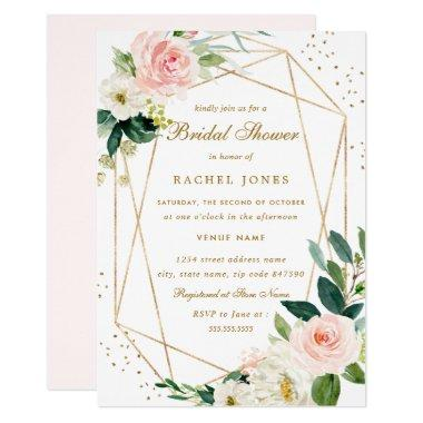 Geometric Blush Gold Floral Bridal Shower Invite